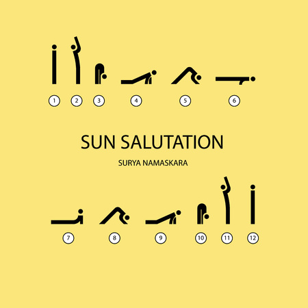 Vector Set Of Icons For Sun Salutation Yoga Exercises Line Style
