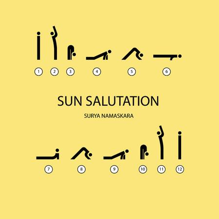 salutation: Vector set of icons for sun salutation yoga exercises. Line style.