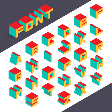 Isometric 3d type font set. Vector illustration