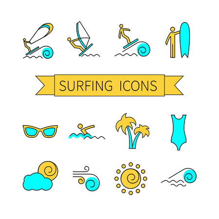 wind surfing: Thin line icon set for web and mobile. Set includes- wind surfing, swimming, surfboarding, wind surf, palm, sun glasses, swimsuit, sun, wind, wave.