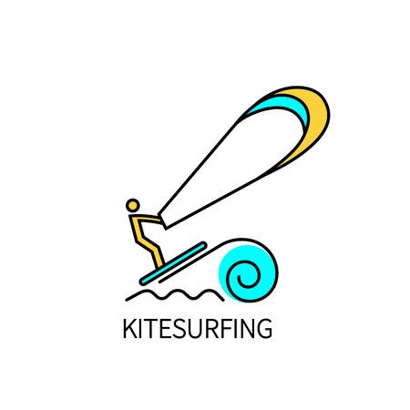 Kitesurfing logo thin line. Vector illustration