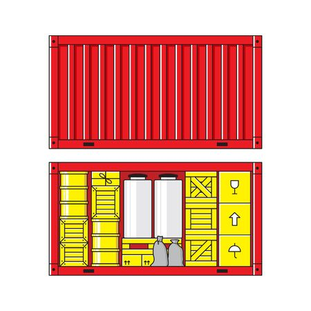bagful: Illustration of cargo container isolated on white background. Carton packaging box, pallet, res container, wooden crates, metal barrel, bagful