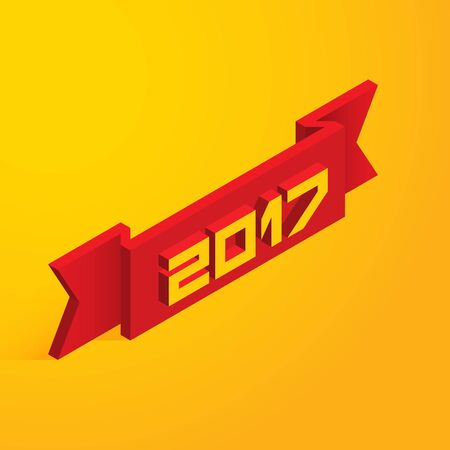 Happy New Year 2017. Vector illustration in isometric style Illustration