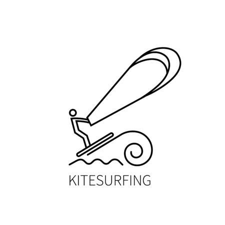 Kitesurfing thin line. Vector illustration