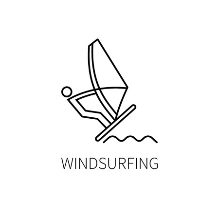 sailboard: Windsurfing  thin line. Vector illustration Illustration