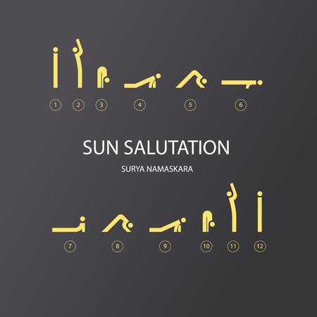 aerobics class: Vector set of icons for sun salutation yoga exercises. Line style.