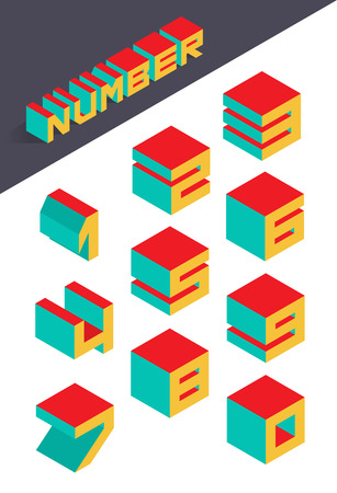 Collection of the isometric numbers. Vector illustration