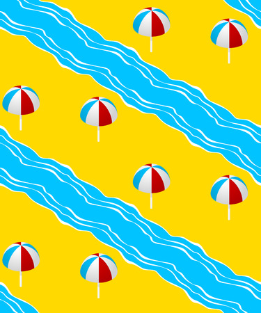 Summer seamless pattern with  with the sea, parasol. 3d style.Vector illustration Illustration