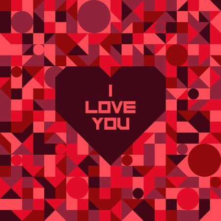 rectangulo: Vector sin patrón geométrico. Extracto rojo de mosaico fondos con un corazón y te amo napisyu.