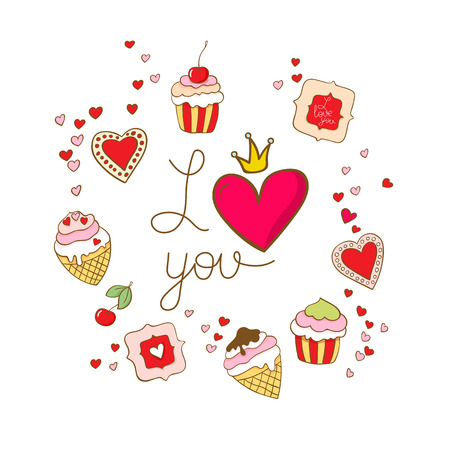 I love you. Card template with sweets. Illustration vector