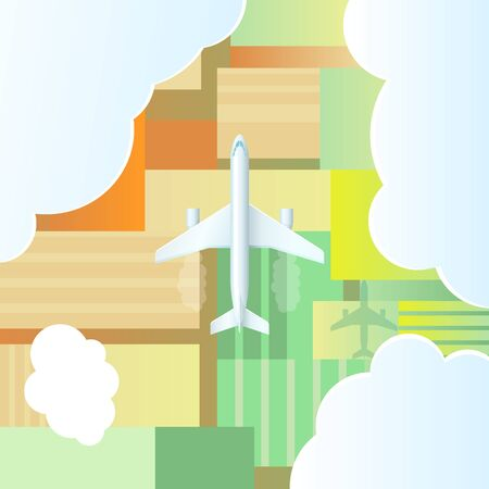 Airplane is flying over the ground. Vector illustration. Illustration