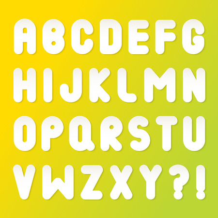 White bubble font with shadow. Vector alphabet isolated on yellow-green background.