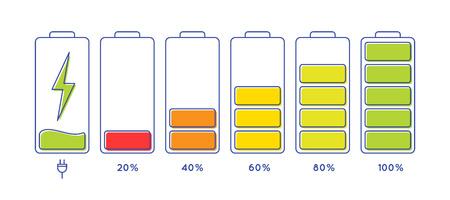 Entladenes und voll aufgeladenes Akku-Smartphone. Icon isoliert auf weißem Hintergrund. Vektor-Infografik