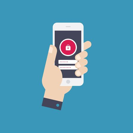 holing: Hand holing smart phone with lock button on the screen. Data protection, locking. Flat design vector.