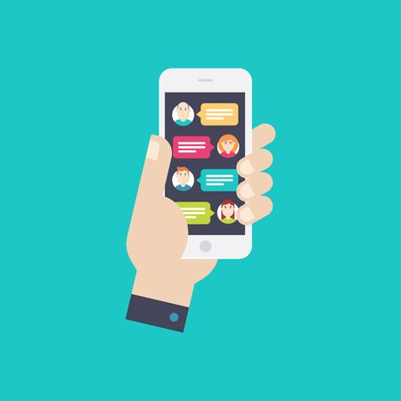 Hand with smartphone and chatting bubble speeches. Chat icon, message on smartphone screen. Online conversation concept. Flat design vector illustration. Illustration