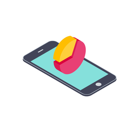 Pie-chart on smartphone screen. Isometric vector illustration business concept design