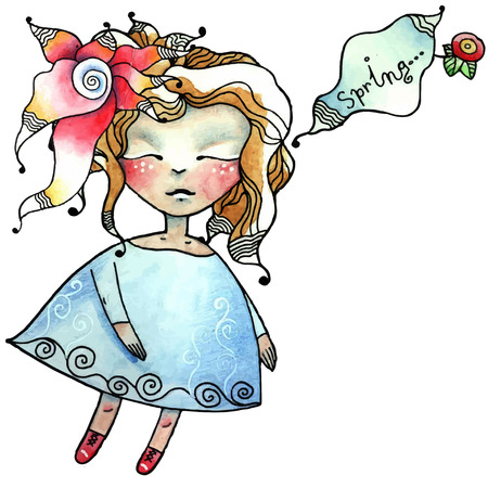 pixy: Vector illustration - little girl doll, flower, dreams of spring