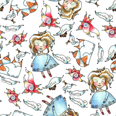 Vector seamless pattern - dolls, cats, flowers, dreams Vector