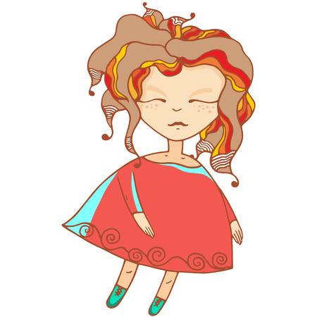 pixy: Vector illustration - sleeping baby doll Illustration