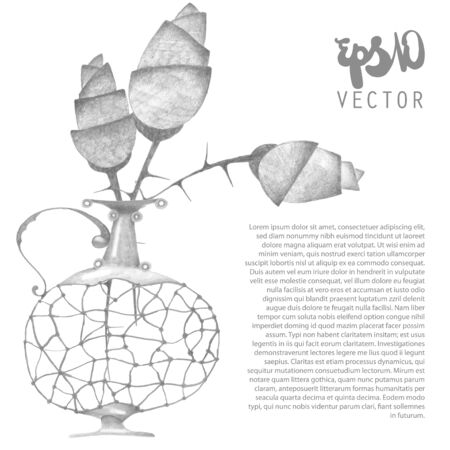 ewer: Vector illustration - card template with rose bouquet in the ewer Illustration