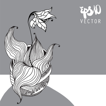 still: Decorative vector still life - flower in a pot