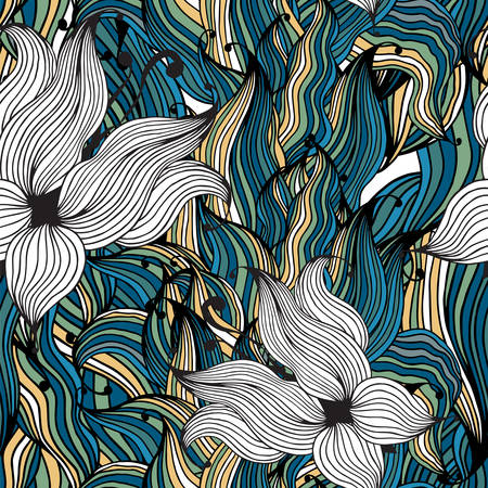 Vector seamless pattern of aloe petals Vector