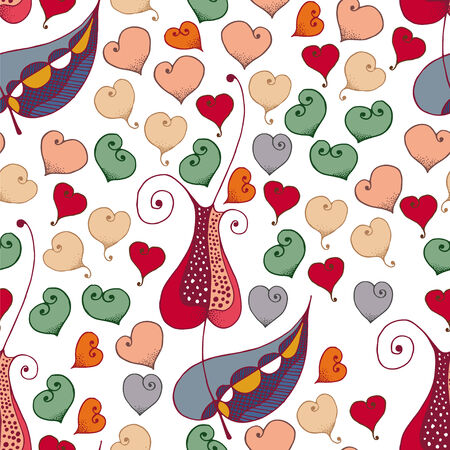Vector seamless patern - romantic hearts and tulip flowers Vector