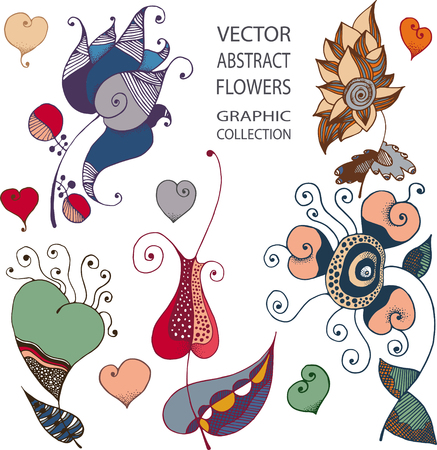 illustration collection: illustration - collection of fantastic graphic flowers Illustration