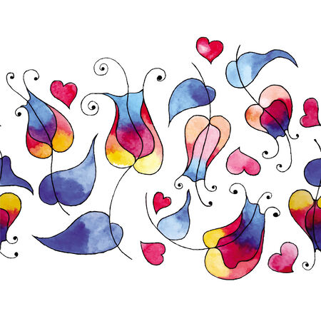 Watercolor illustration of tulips and hearts  Vector