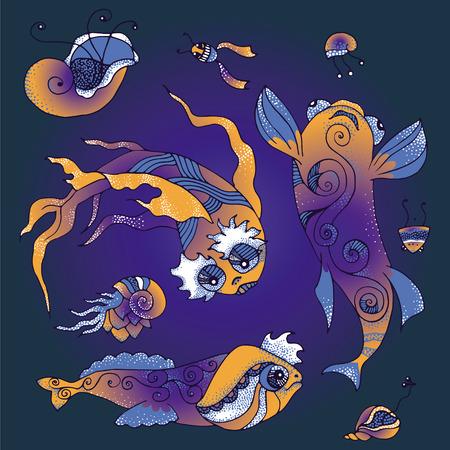 mollusk: Illustration of fantastic marine life - fish, shell mollusk, planktone. Vector collection. Illustration