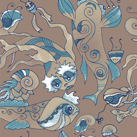 mollusk: Illustration of fantastic marine life - fish, shell mollusk, planktone. Vector seamless pattern