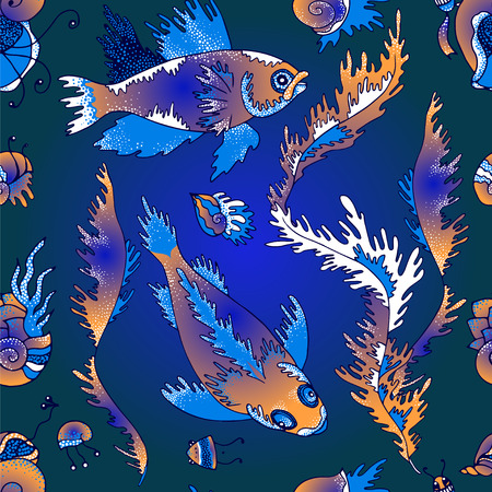 cochlea: Vector seamless pattern - fish, shellfishes, plankton and plants on dark blue background