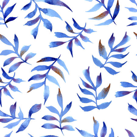 Watercolor illustration in vector format - seamless pattern of blue tree foliage Vector