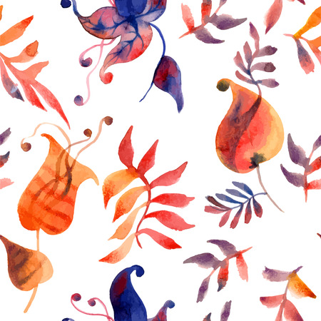 Watercolor illustration of flowers and leaves in vector format - seamless pattern Vector