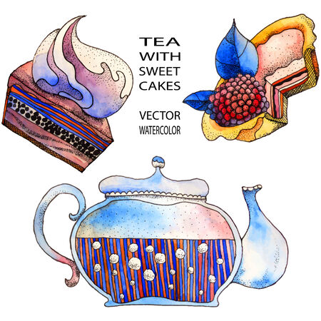 decoction: Teapot and sweet cakes - watercolor illustration in vector format