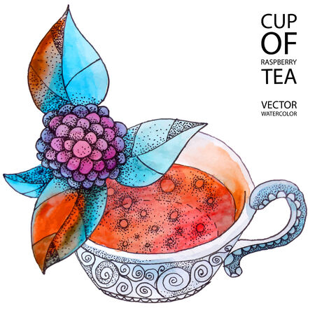 decoction: Cup of hot berry tea - watercolor illustration in vector format