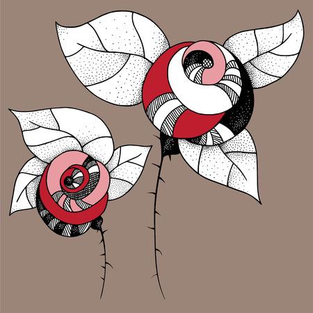 paisley: Decorative illustrazione grafica di rose - formato vettoriale Vettoriali