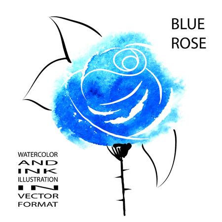 Blue rose - handmade illustration in japan style. Vector format. Vector