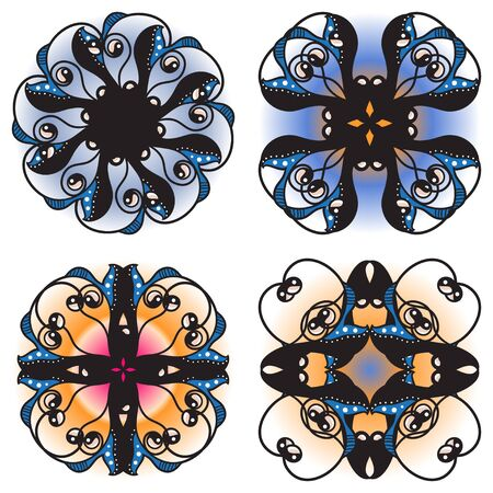 ornamental elements: Decorative ornamental elements - collection in vector format Illustration