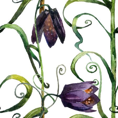 bellflower: Bellflower. Hand painted watercolor in vector format. Seamless pattern. Illustration