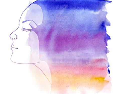 face skin: Rainbow portrait. Woman portrait with watercolor painted texture. Stock Photo