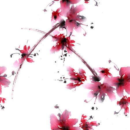 さくらの花。中国スタイルのスミ-e の水彩、インクの anillustration。東洋の伝統的な絵画。シームレス パターン。