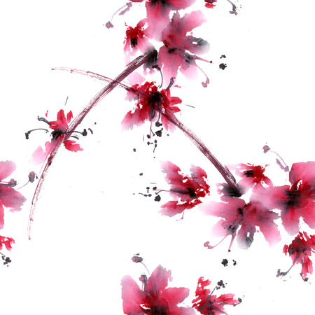 Sakura flower. Watercolor and ink anillustration in china style sumi-e. Oriental traditional painting. Seamless Pattern.