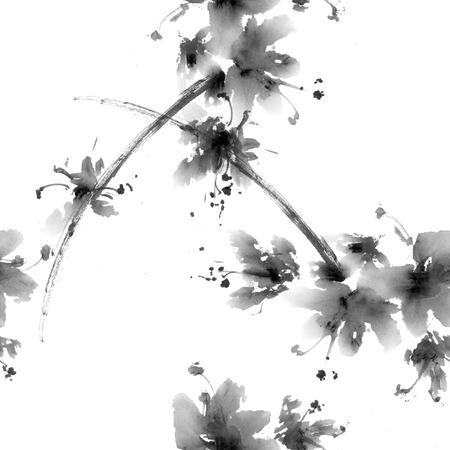 flores chinas: flor de Sakura. Acuarela y tinta china anillustration en el estilo del sumi-e. la pintura tradicional oriental. Patrón sin fisuras.