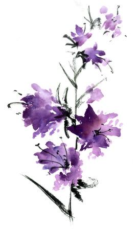 Sakura bloem. Waterverf en inktillustratie in stijl sumi-e, u-zonde. Oosterse traditionele schilderkunst.