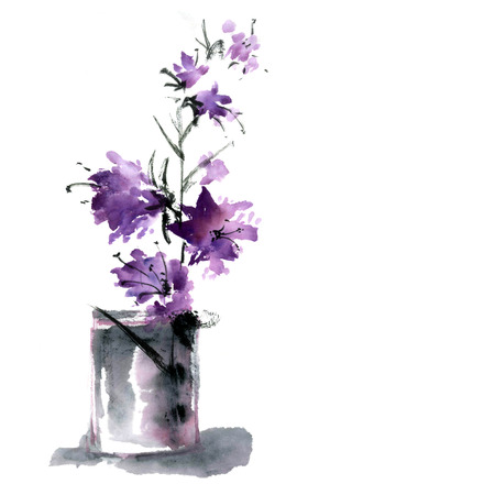 oriental style: Sakura flower. Watercolor and ink illustration in style sumi-e, u-sin. Oriental traditional painting.