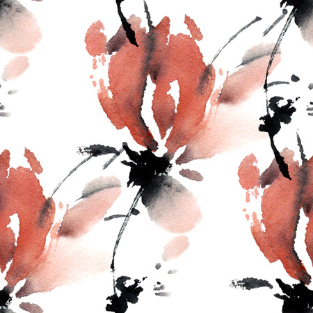 oriental: Sakura flower. Watercolor and ink illustration in style sumi-e, u-sin. Oriental traditional painting. Seamless pattern.