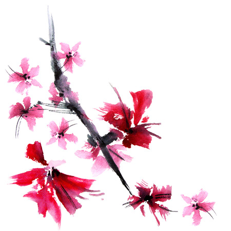 flower meadow: Sakura tree. Watercolor and ink illustration in style sumi-e, u-sin. Oriental traditional painting.
