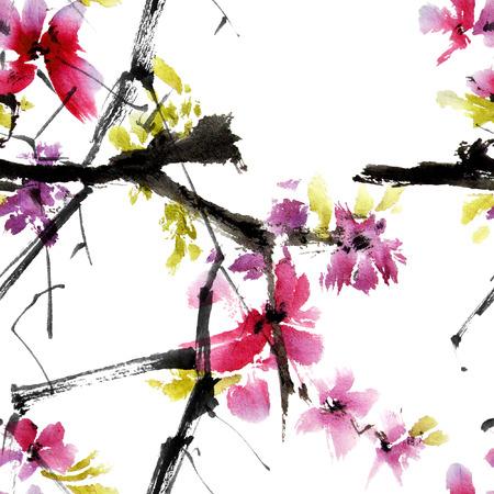 sakura tree: Sakura tree. Watercolor and ink illustration in style sumi-e, u-sin. Oriental traditional painting. Seamless pattern.