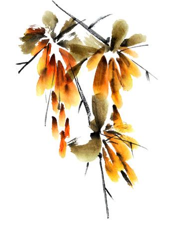 Bloem tak. Aquarel geschilderd illustratie in traditionele stijl sumi-e, u-zonde. Stockfoto